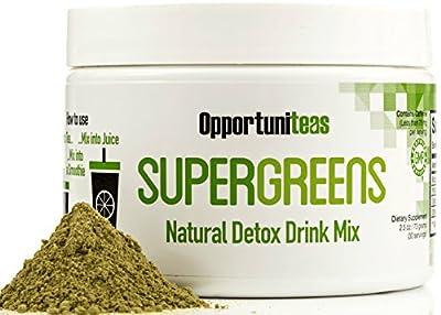 Natural Detox Tea | Matcha Green Tea + Yerba Mate + Milk Thistle + Spirulina + Coconut Water + Cinnamon + Ginger | Detox and Cleanse Drink Mix Powder Supplement | 30 Servings