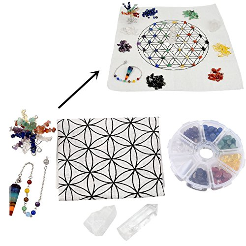 Top Plaza 7 Chakra Healing Crystal Grids Kit/Lot of 7 Chakra Assorted Chip Stones,Money Tree,Pendulum Pendant,Clear Quartz Crystal Wands, Flower Of Life Sacred Geometry Crystal Grids Altar Cloth
