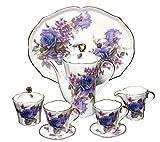 Fine Porcelain Miniature Tea Set with Purple Roses