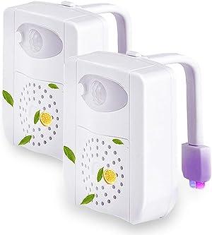 PHICOOL Toilet Bowl Light Motion Sensor Detection LED Light, 16 Colors Toilet Light for Bathroom, Washroom (2 Pack).