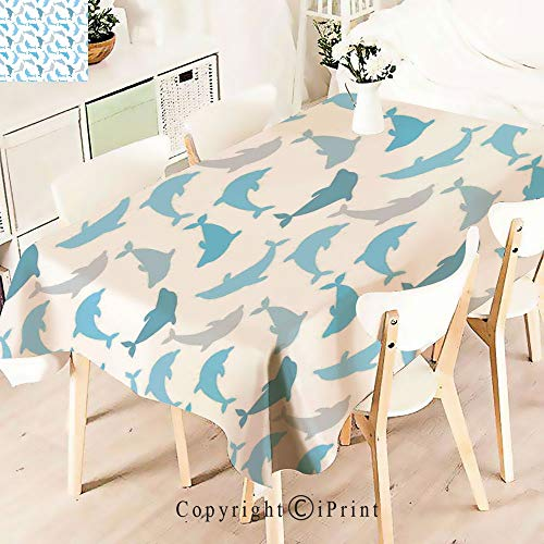 Polyester Water Resistant Tablecloth Dolphin Figures Underwater Ocean Marine Naturalfor Vintage Washable Table Cloth Dinner Kitchen Home Decor,W55 xL83,White Blue Grey