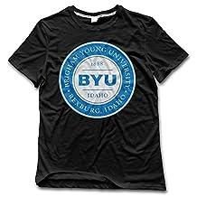 ESSES Brigham Young University BYU Idaho Medallion Mens Crew Neck T-Shirt Black L