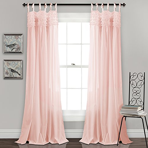 (Lush Decor Lydia Curtains Ruffle Window Panel Set for Living, Dining, Bedroom (Pair), 84
