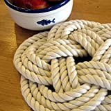 Large Cotton Rope Sailor Knot Trivet Natural White