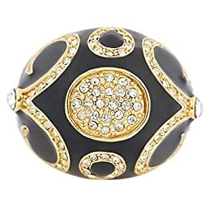 Giro Woman's Alloy Black Gold Stone Ring - G0082-18 mm