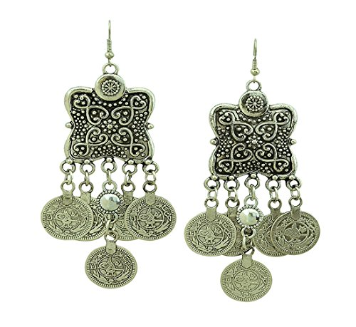 Tribal Gothic Belly Dance Costumes (SUNSCSC Silver Plated Coin Earrings Beach Bohemian Ethnic Jewelry Belly Dance Accessory Hook Earrings)