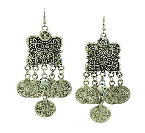 [SUNSCSC Silver Coin Earrings Beach Bohemian Ethnic Jewelry Belly Dance Accessory Hook Earrings] (Ethnic Dance Costume)