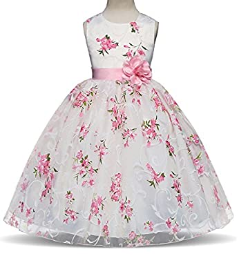 TTYAOVO Flower Girls Princess Wedding Dress Bow Tie Christmas Party Dresses