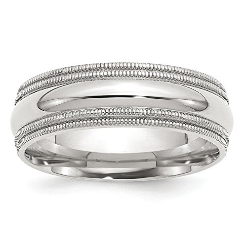 Solid 925 Sterling Silver 7mm Comfort Fit Double Milgrain Size 10.5 Wedding Band
