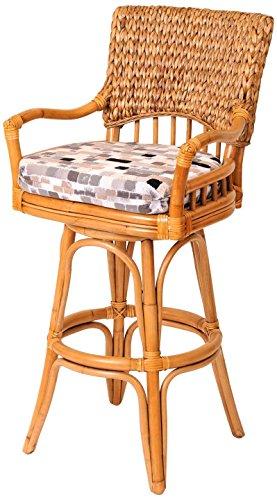 Alexander Bar Stools - Alexander Sheridan KEY10130-AH-OV Key Largo Swivel Barstool in Antique Honey Finish, 30