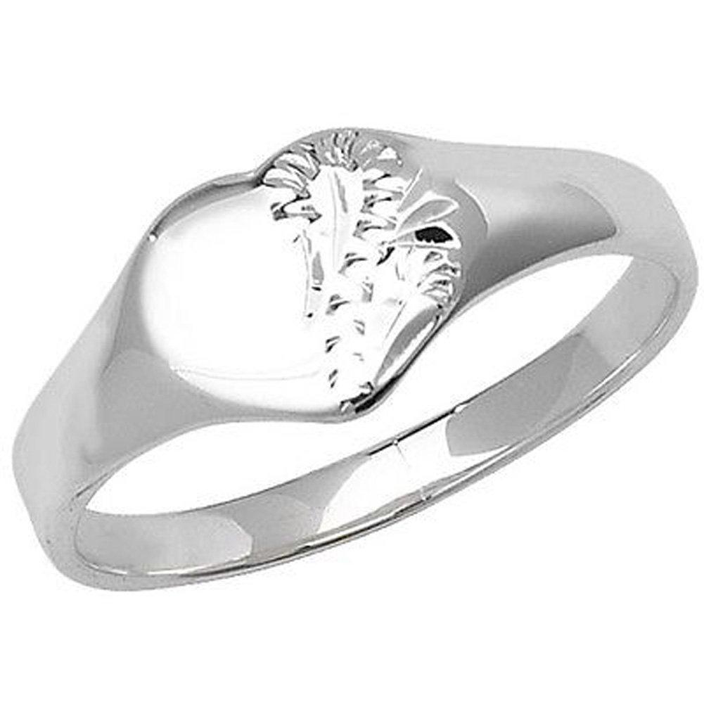 Unique Wishlist Children's Half Engraved Silver Heart Signet Ring *G7398