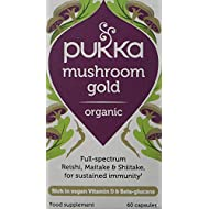 Pukka Herbs Mushroom Gold, Organic Maitake, Reishi and Shiitake, Pack of 60 Capsules