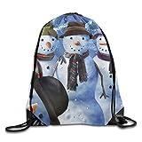 Snowman Photo Drawstring Bags Portable Backpack Pocket Bag Travel Sport Gym Bag Yoga Runner Daypack