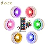 LEASTYLE Wireless LED Puck Lights with Remote Controls RGBW Colors Changing Under Cabinet Lighting 4 Modes Dimmable Timing Battery Operated Closet Light Multicolor Counter Lights for Kitchen Bedroom