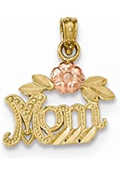 """14k Two-tone Textured """"Mom"""" with Flower Pendant"""
