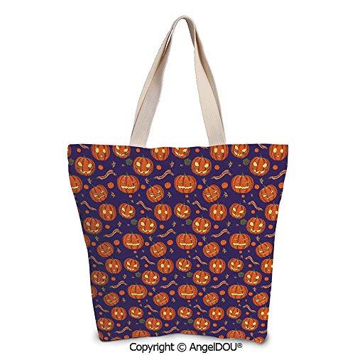 SCOXIXI Halloween printed Tote Schoolgirl Bag Ladies Shopper Canvas Bags Pumpki -
