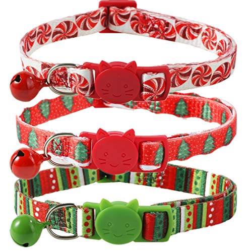 BoomBone Breakaway Cat Collar with Bell for Christmas,Puppy Holiday Collars