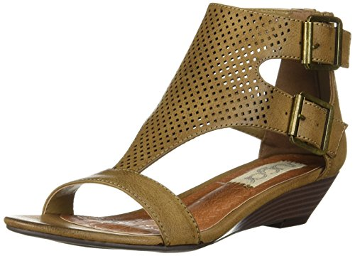 Sugar Womens' Wigout Demi Wedge T-Bar Open Toe Buckle Sandal, Dark Brown Perf, 8 Medium US