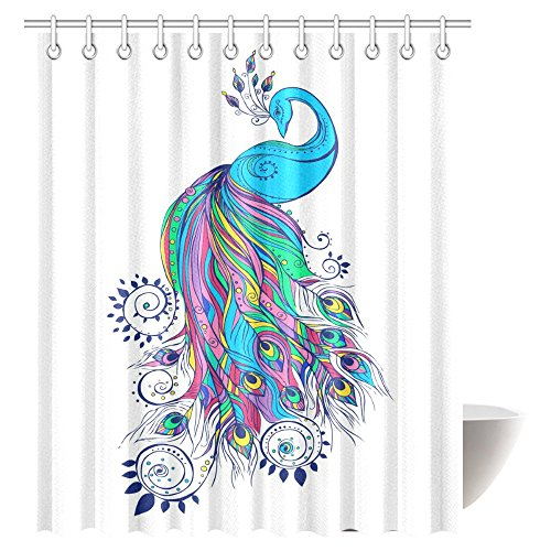 InterestPrint Peacock Decor Shower Curtain, Colorful Fashion Art with Peacock Pattern Stylish Ornament Paisley Oriental Fabric Bathroom Shower Curtain Set, 72 X 84 Inches Extra Long