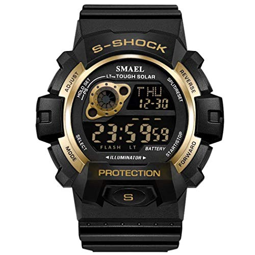 Men Military Watch,SMEAL Watch with Led Night Light Rubber Strap Casual Sport Wrist Watches (Gold)