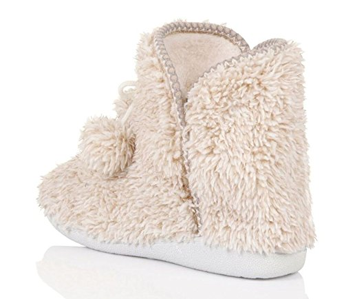 Boots Loungeable Ladies UK with Slipper Ultra 3 Small Sole Luxury Fleece 4 Soft Bow Hard Cream 8TBwTxrq