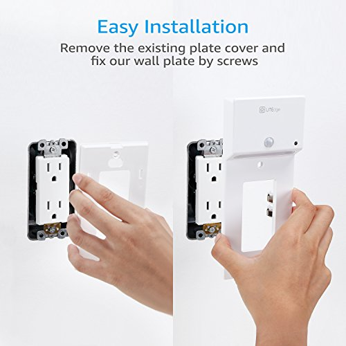 LITEdge Decor USB Charging Wall Plate Cover + Phone/Tablet Holder, LED Motion Activated & Photocell, Quick Charging Night light for Bedroom, Bathroom, Kitchen, Hallway, Pack of 2