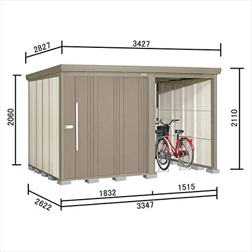 タクボ物置 TP/ストックマンプラスアルファ TP-3326 一般型 標準屋根 『駐輪スペース付 屋外用 物置 自転車収納 におすすめ』 カーボンブラウン B071WN7XV4