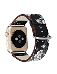 Apple Watch Band, Leather Strap iWatch Wristband Bracelet with Metal Adapter for 38mm Apple Watch Series 3/Series 2/Series 1 (38mm,Black with Grey)