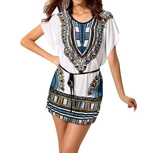JESPER Women Printing Elegant Bat Sleeve Rufflesk Waist Belt Greek Style Mini Boho Dress Blue