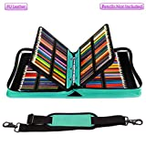 YOUSHARES 180 Slots PU leather Colored Pencil Case - Large Capacity Carrying Case for Prismacolor Watercolor Pencils, Crayola Colored Pencils, Marco Pens, Gel Pens(Green)