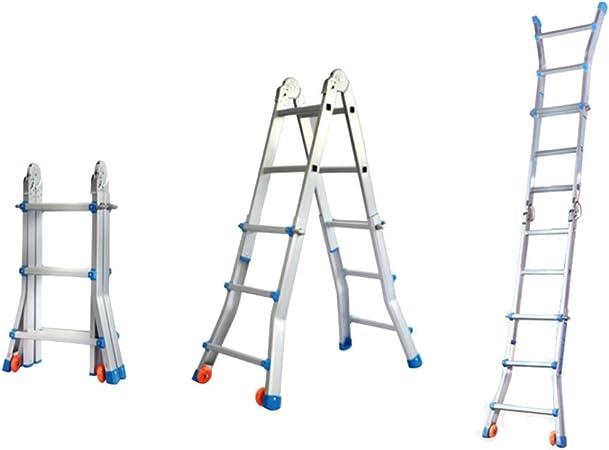 Escalera de 3 peldaños Escalera plegable telescópica multifunción Escalera plegable de aleación de aluminio Escalera telescópica de 2.9 m Escalera plegable portátil Soporte de carga 200 kg, plateado: Amazon.es: Hogar