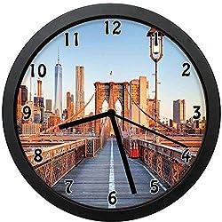 Akalidebaih New York Skyline Closeup Brooklyn Bridge in Manhattan Over Hudson River,Unique Decoration,Silent Quartz Movement Wall Clock -10inch
