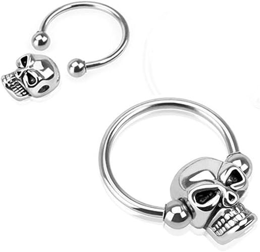 2 Lot SKULL Captive Bead Circular Rings EAR SEPTUM NOSE Nipple Piercing Jewelry