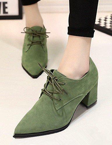 ZQ hug Zapatos de mujer-Tacón Robusto-Comfort / Puntiagudos-Tacones-Oficina y Trabajo / Vestido-Semicuero-Negro / Gris , gray-us8.5 / eu39 / uk6.5 / cn40 , gray-us8.5 / eu39 / uk6.5 / cn40 gray-us6.5-7 / eu37 / uk4.5-5 / cn37