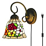Kiven Tiffany Wall lamp E26 1-Light Plug-in Bulb not Included Wall Sconce Glass Shade 6 Foot Black Cord(BD0534)