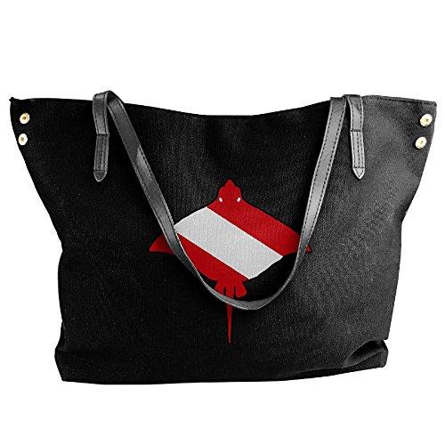 Women's Stingray Shoulder Black Handbag Bags Canvas Capacity Large Flag Tote Large Dive r4xrq1