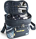 Glodwheat Picnic Cooler Bag Insulated Picnic Basket with Tableware, Tableware,Cotton Napkins,Wine Glasses,Bottle Opener Set