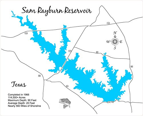Sam Rayburn Reservoir, Texas: Framed Wood Map Wall Hanging