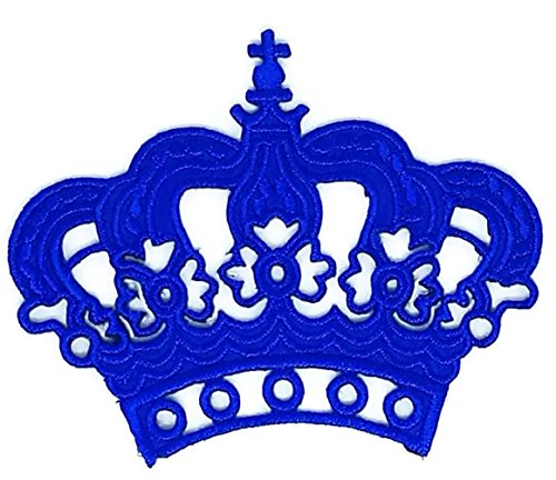 3.2 inches x 2.2 inches Blue Crown Imperial King Queen Cartoon Sew Iron on Embroidered Applique Craft Handmade Baby Kid Girl Women Cloths DIY Costume Accessories]()
