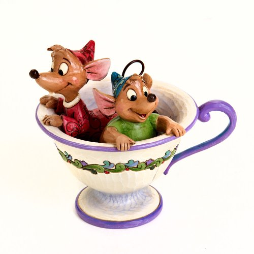 "ions by Jim Shore ""Cinderella"" Jaq and Gus Teacup Stone Resin Figurine, 4.25"" (Disney Collectible Figurines)"