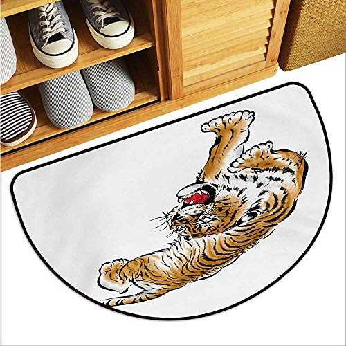 (warmfamily Tiger Printed Door mat Japanese Inspired Large Feline Japanesque Design Free Hand Drawing Traditional Environmental Protection W29 x L17 Black Pale Brown)