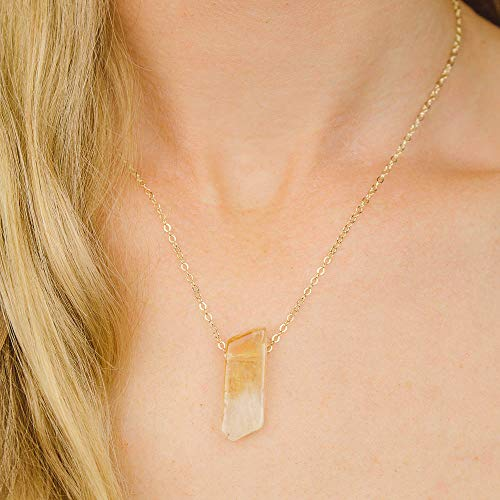 - Small slab citrine crystal necklace in gold plate - 16