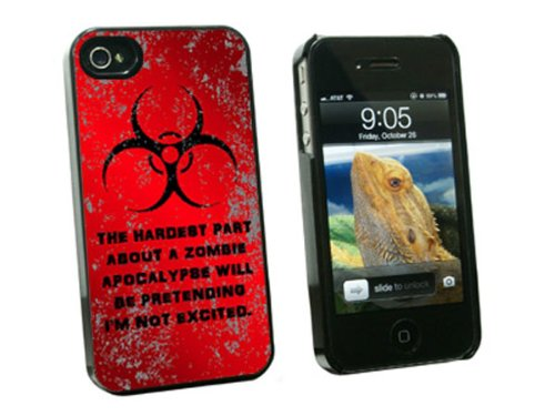 Graphics and More Hardest Part About A Zombie Apocalypse Red Distressed - Snap On Hard Protective Case for Apple iPhone 4 4S - Black - Carrying Case - Non-Retail Packaging - Black