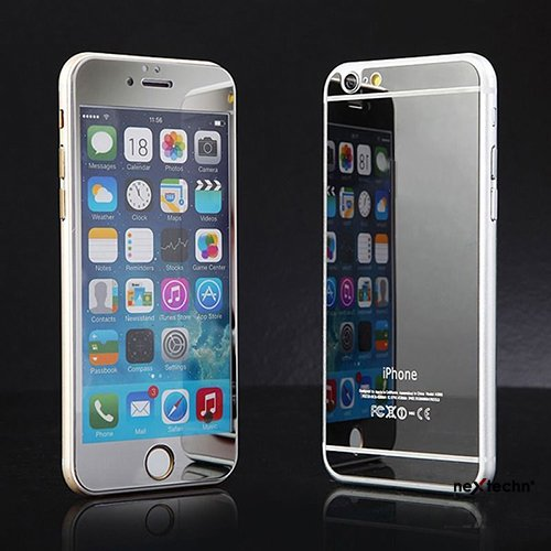 """Nextechn Silver 2 in 1 Electroplating Color Mirror Effect Front+Back Full Cover Tempered Glass Screen Protector Film For iPhone 6 4.7"""""""