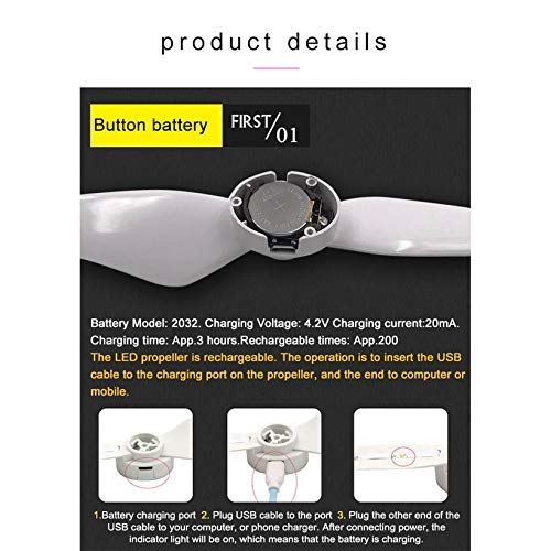 Wikiwand LED Flash CW CCW Propellers Props Part for Phantom 4/4 Pro/Adv/ RC Drone by Wikiwand (Image #6)