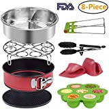 Instant Pot Accessories Set for 5,6,8Qt Instant pot Pressure Cooker,8-Pcs-Steamer Basket, Silicone Egg Bites, Non-stick Cake Pan, Steaming Rack, Silicone Cooking Pot Mitts and Kitchen Tongs