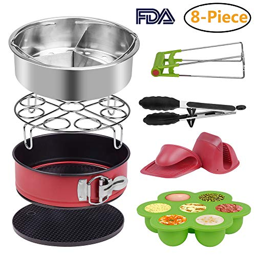 Accessories Set for Instant Pot Pressure Cooker of 5,6,8Qt,8-Pcs-Steamer Basket, Silicone Egg Bite, Non-stick Cake Pan, Steaming Rack, Silicone Cooking Pot Mitts and Kitchen Tongs