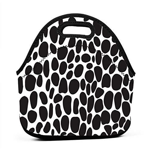 (Portable Lunch Bag Tote Giraffe Print Black And White Neoprene Lunch Handbag Food Zipper Storage Lunch Box For Men Women Kids)