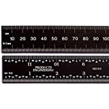 "PEC Tools 6"" 150 mm English / Metric black chrome, ""high-contrast"" machinist ruler with markings .5mm, mm 1/32"" and 1/64"""