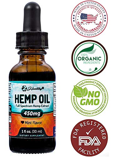 Organic Hemp Oil (450mg) for Pain, Anxiety & Stress Relief - Full Spectrum Hemp Extract Drops - Made in USA - Anti-Inflammatory & Joint Support - Helps with Sleep, Mood, Skin & Hair - 1 Fl oz. (30ml)